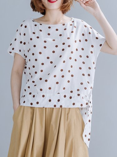 Women Short Sleeve Round Neck Vintage Polka Dots Floral Casual Tops