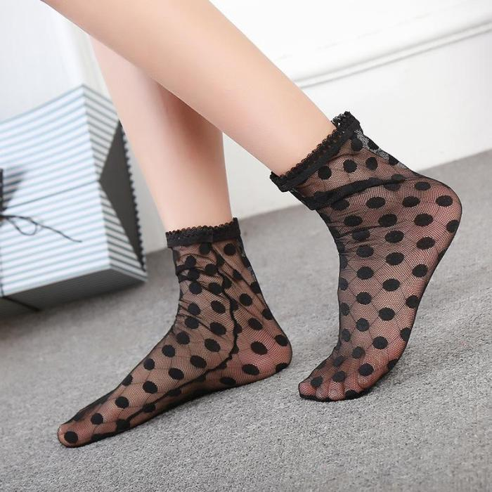 New Transparent Hollow Out Fashion Trend Lace Tube Socks