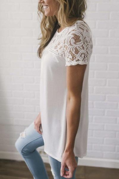 Casual Hollow Out Embroidery Lace T-shirt