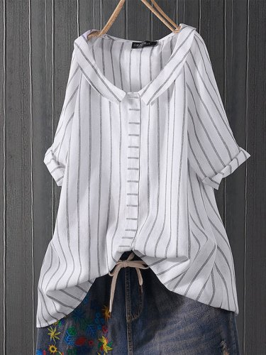 Sweet V Neck Half Sleeve Striped Shirts & Tops