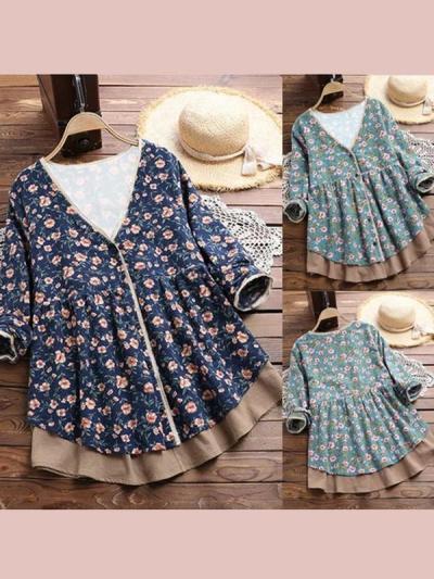 V Neck Vintage Long Sleeve Floral Blouse & Shirts