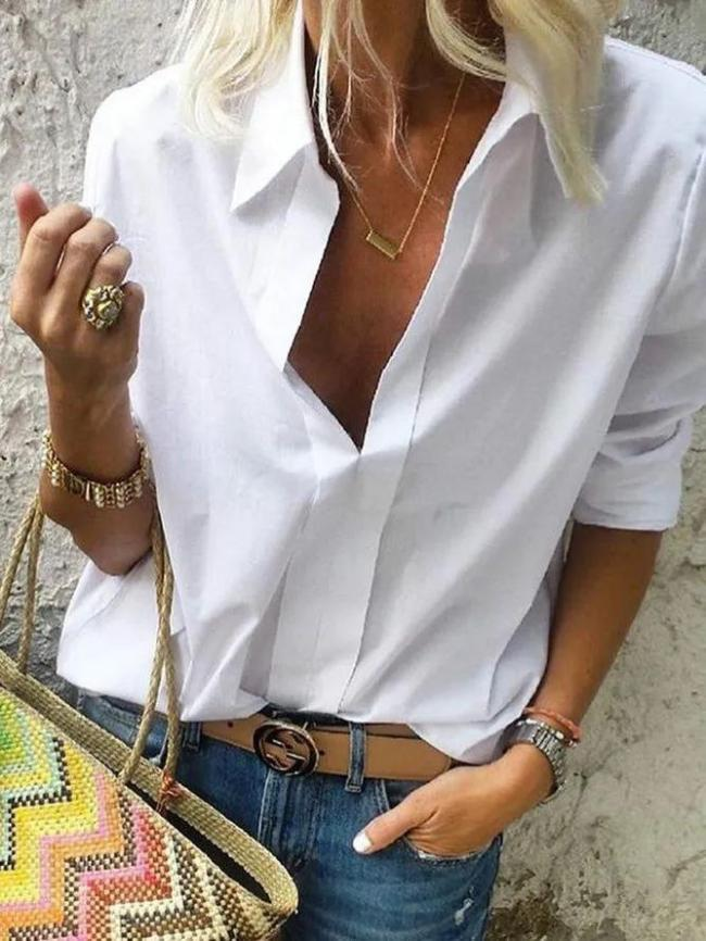 Women White Long Sleeves Collar Solid Casual Shirts