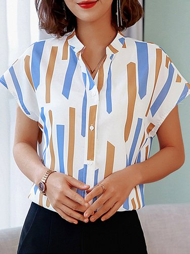 Plus Size Women Short  Sleeve  V-neck  Striped   Floral  Casual  Tops