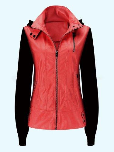 Detachable Cap Paneled Zipper Fashion Jacket