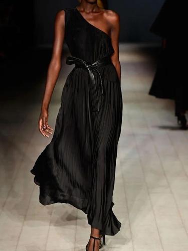 Plus Size Vintage Plain Cotton-Blend Dresses