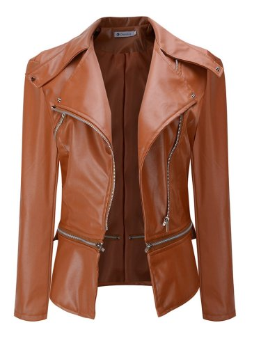 Casual Pockets Solid Faux Leather Bomber Jacket