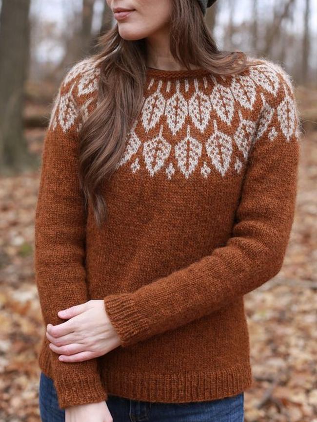 Leaf Printed Crew Neck Long Sleeve Sweaters