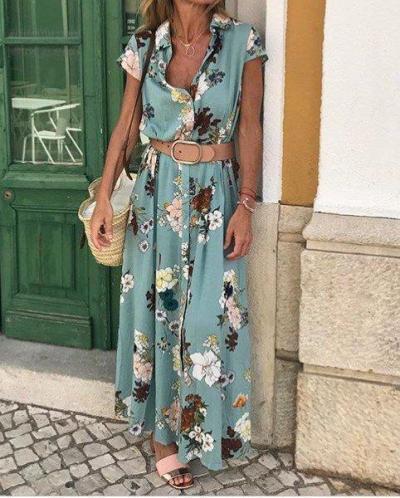 Floral Shirt Collar Short Sleeve Maxi Dresses