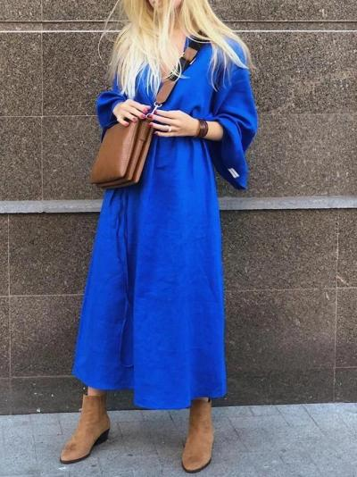 Plus Size Maxi Dress Solid Long Sleeve Dresses