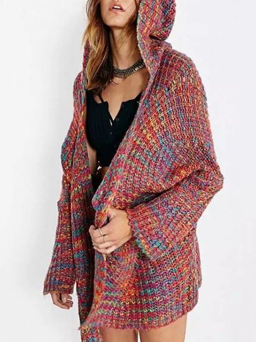 Cotton-blend Sweet Knitted Solid Quilted Coat