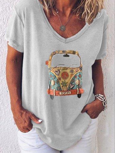 V Neck Casual Short Sleeve Shirts & Tops