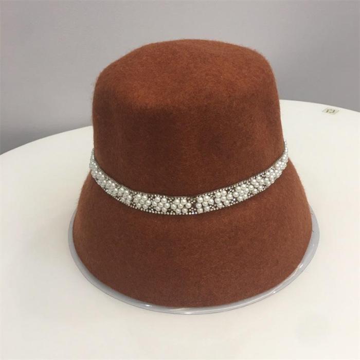 2020 Autumn and Winter New Wool Felt Bucket Pearl Decorated Fisherman Hat Ladies