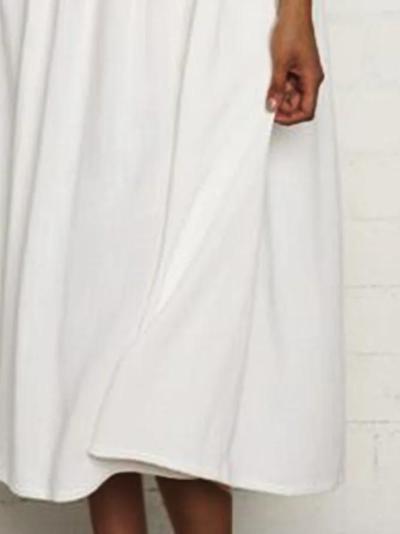 Women Kaftan Solid Casual Linen Dresses