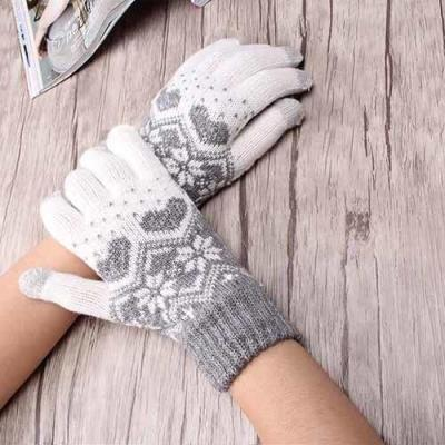 Winter Gloves Women Stretch Knitted for Snowflake Mittensr Use Smartphone Screen Gloves