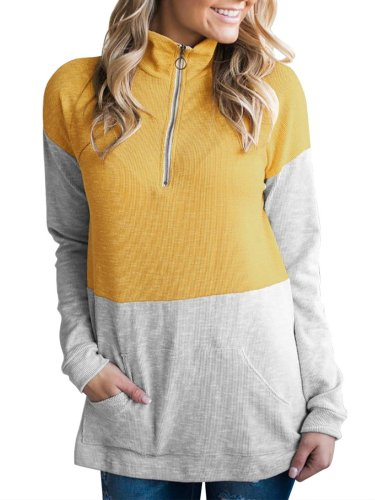 Stand-Up Neck Long Sleeve Solid Color-Block Sweatshirts