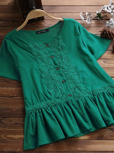 Buttoned Cotton-Blend Shirts & Tops