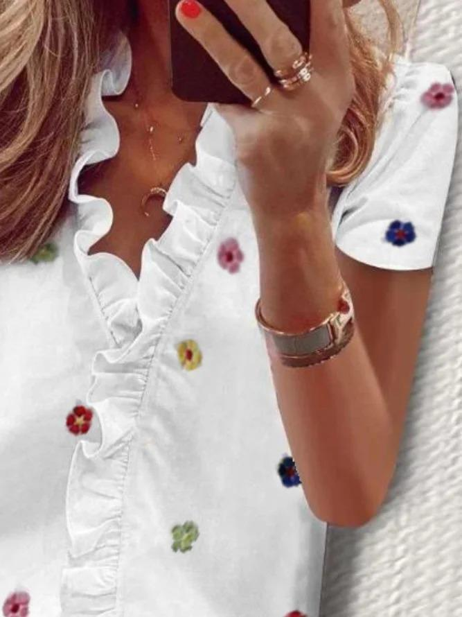 Plus size Floral Short Sleeve Shirts & Tops