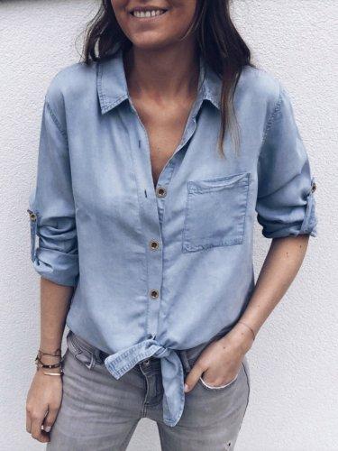 Plain Pockets Casual Blouses & Shirt