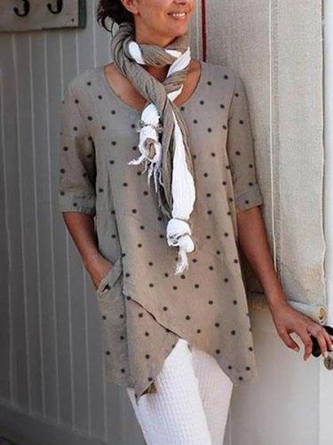 Asymmetrical Polka Dots Half Sleeve Shirts & Tops