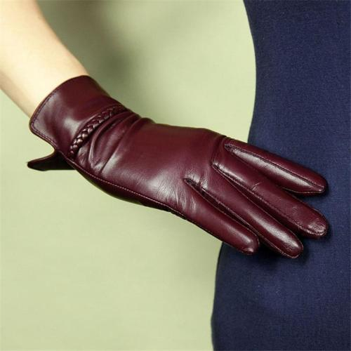 Women Gloves Fashion Genuine Leather Sheepskin Gloves Female Autumn Winter Warm Plush Lined Elegant Driving Mittens