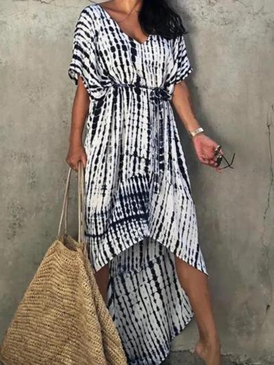 V Neck Short Sleeve Cotton Holiday Dresses