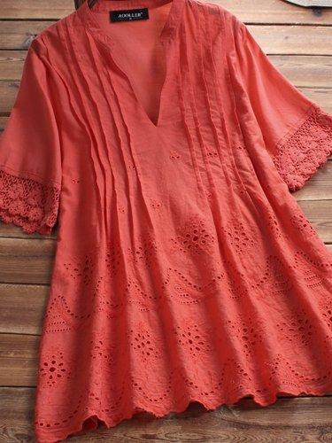 Cotton-Blend A-Line Short Sleeve V Neck Shirts & Tops