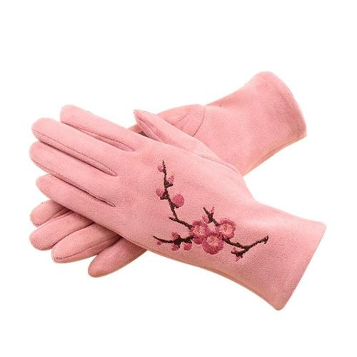 Winter Female Single Layer Warm Cashmere Full Finger Plum Pattern Mittens