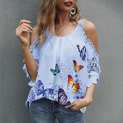 5XL Sexy Hollow Out Butterfly Print O Neck Basic Tops Shirt Pullover