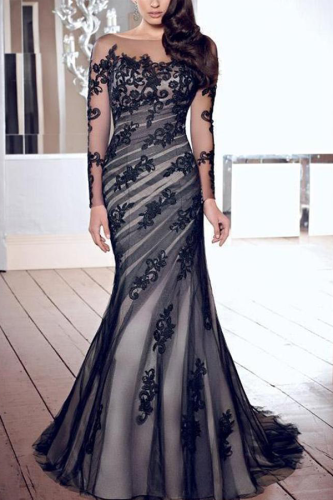 Fashion Lace Gauze Slim Evening Dress