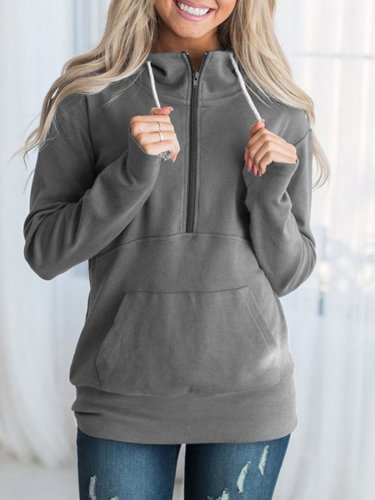Long Sleeve Casual Zipper Solid Plus Size Hoodies