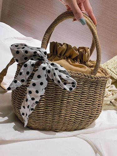 Women's Summer Beach  Woven Straw Pull Rope Handbag