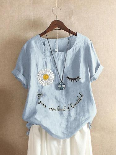 Sun Flower Alphabet Printed Cotton Blended Casual Short Sleeve Top