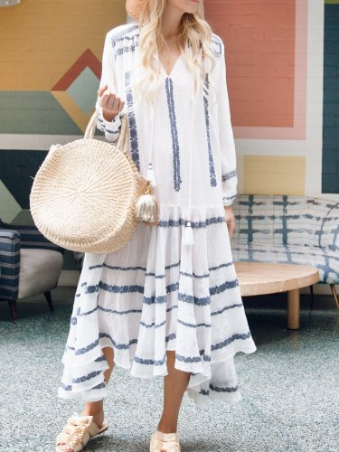 White V Neck Casual Dresses