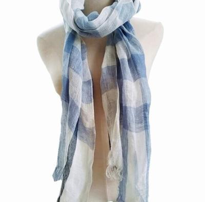 100% Linen Plaid Contrast Tassels Linen Men/Women Scarves Man/Woman Summer Scarf Pashmina Shawls Wraps Head Scarf bandanas