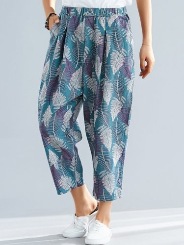 Plus Size Women Floral Casual Pants