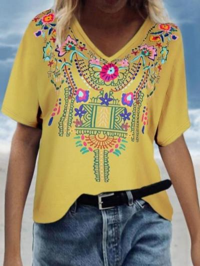 Fashion Blouse Casual Loose Plus Size Ethnic V Neck Printing Short Dleeve Top Blouse