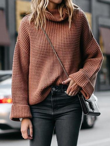 Autumn/Winter Leisure High-Collar Long-Sleeved Loose Sweaters