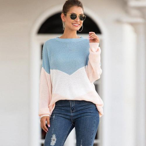 Autumn and Winter New Women's Sweater Women's Tri-color Intarsia Mixed Color Sweater Sweater Women Sweaters Pullover