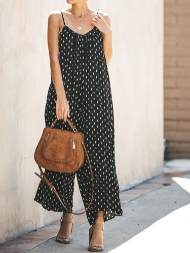 Black Casual Polka Dots Jumpsuits