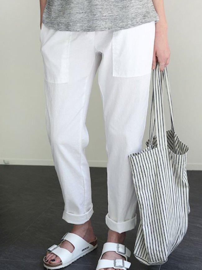 White Casual Plain Pants