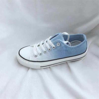 Casual Gradient Color Lace-Up Low-Top Canvas Shoes