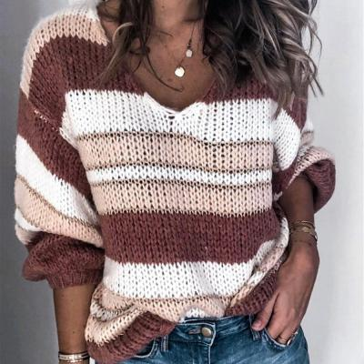 Winter New Stitching Sweater V-neck Striped Sweater Women's Clothing Knit Sweater Women Sweaters Girls Sweaters