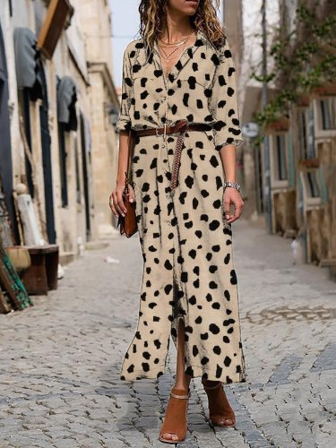 Dots Printed Maxi Holiday Dress
