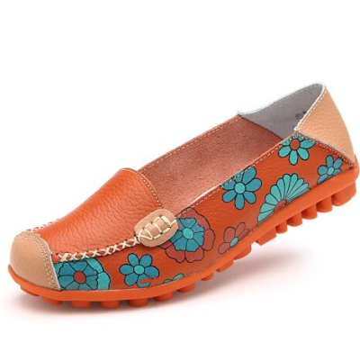 Flower Flat Heel Casual Cowhide Leather Loafers