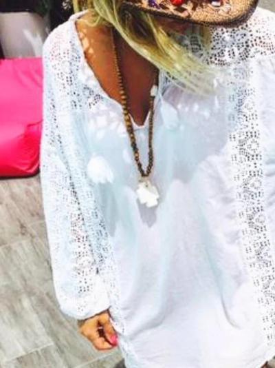 Lace Paneled Long Sleeve Holiday Shirts & Tops