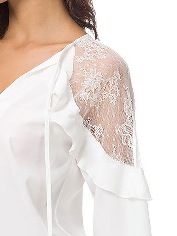 Deep V-Neck Lace Casual Solid Paneled Elegant Blouse