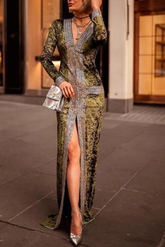 Elegant Fashion Slim Color Block Long Sleeve Fork Evening Dress