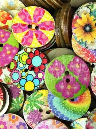 Vintage Round Printed Wooden Buttons for DIY Craft