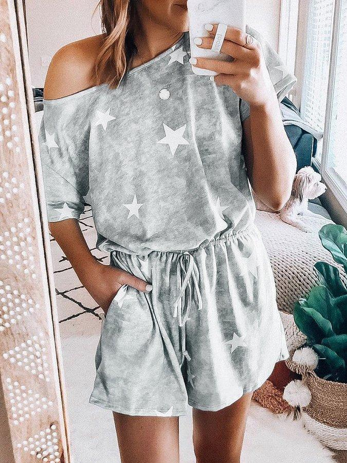 Gray Short Sleeve Star Suits