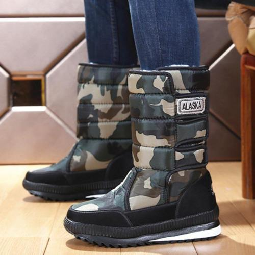 Womens Warm Flat Heel Oxford Winter Snow Boots